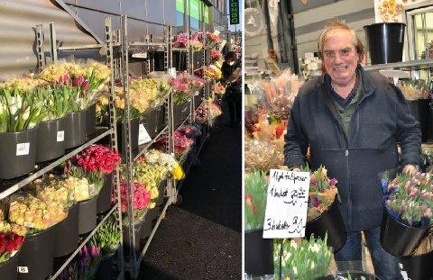 GRATIS: Blomster som egentlig skulle vært til salgs i helgen, ble Henry Harry Pongo nødt til å gi bort lørdag.