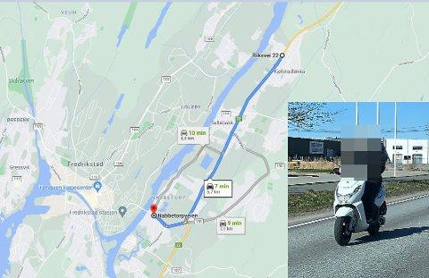 Her ser vi alternative veier fra Selbak til Fredrikstadbrua, mopedistene kan kjøre enten langs elva forbi Nabbetorp, eller på østsiden av riksvei 22.