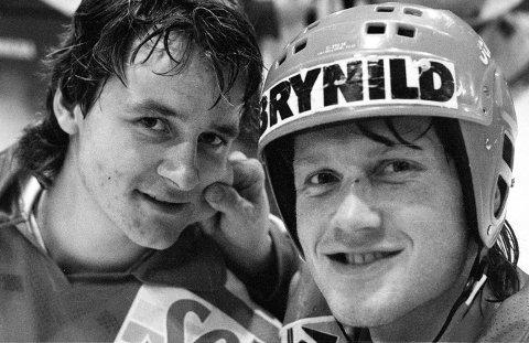 Ørjan Løvdal scoret tre mål da Stjernen slo Sparta 5-1 i Stjernehallen i 1988. Her sammen med Henrik Buskoven som satte inn ett mål.