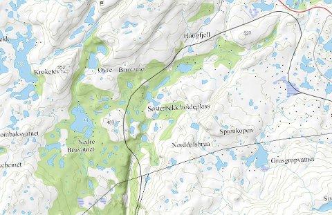 Her: Vest for Ofotbanen og Søsterbekk holdeplass er det at Statskog ser for seg at det nye hyttefeltet skal etableres. Skjermdump fra Narvik kommunes karttjeneste