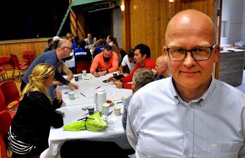 SKOPPUMMØTE: 11. juni ble det første verdimøtet holdt på Borreborg. Ole Grinde var fornøyd med oppmøtet. Mandag kveld går de et skritt videre.