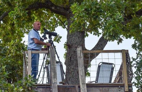 FUGLETITTER: Bjørnar Olsen bygget utkikkstårn uten å søke. Dersom kommunen ikke godkjenner tiltaket i ettertid, må han rive det.