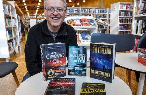 KRIM: Jan Erik Sandhals kan anbefale britisk krim fra Ann Cleeves og Peter May. Tom Egeland er også populær. Eller hva med en krimquiz i påsken?