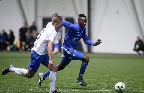 SCORET TO: Prøvespilleren Ibrahima Kone fra Mali fungerte bra på topp sammen med Frederik Gytkjær. Foto: GRETHE NYGAAARD