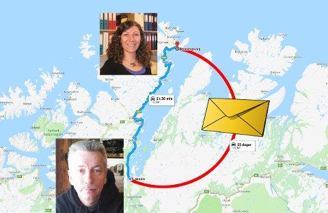 KRAFTIG FORSINKET: Google maps kalkulerer at en biltur de 162 kilometrene mellom Lakselv og Honningsvåg skal gå unna på to og en halv time. Posten brukte 55 dager på og få frem et brev på denne distansen!