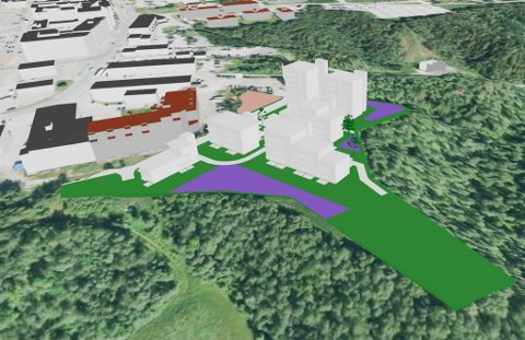 MODELL: Modell av forslaget i visualiseringsverktøyet City Planner. Orientert mot nord på Alta sentrum. (Boligkomplekset «Bykanten» er illustrert med med rødt tak). Illustrasjon Haldde arkitekter AS