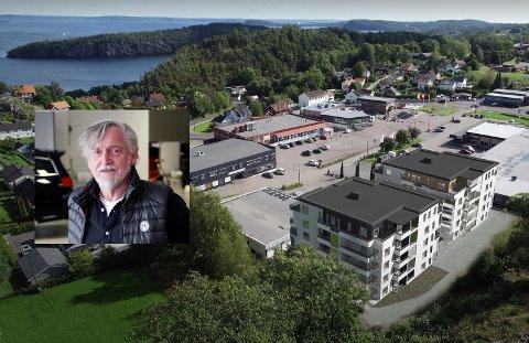 VIL VIDERE MED PLANENE: Aasmund Grødahl (innfelt) har lagt Kleivbrottet-prosjektet (blokkene nærmest) ut for salg.