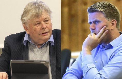 Uenige: Karl Einar Haslestad (Ap) og Aleksander Leet (H), er ikke enige overforbruket i Holmestrand kommune i 2019.