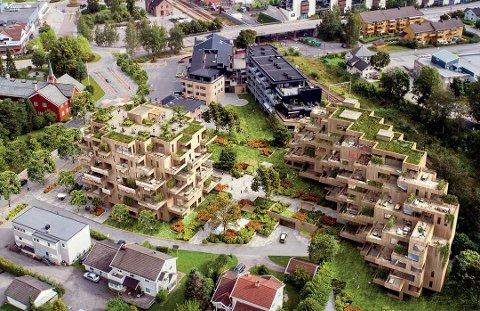 OMSTRIDT UTBYGGING: Bygget nærmest Herredshuset ble foreslått kuttet med to etasjer. Nå ønsker politikerne å la høydene stå, og heller utvikle uteområdet.