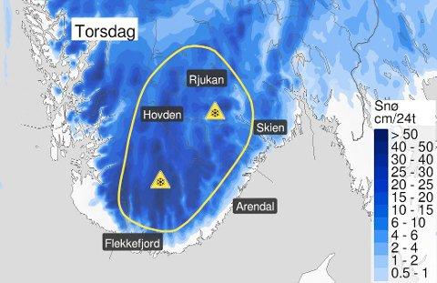Illustrasjon: Meteorologisk institutt og YR.no