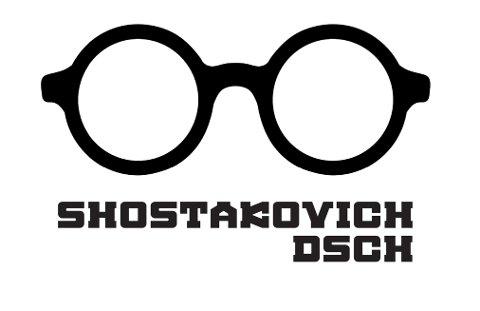 BRILLEPROFIL: Sjostakovitsj sine hornbriller er blitt grafisk gjennomgangs-figur for den fjerde kammermusikkfestivalen.