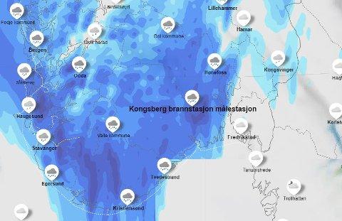 Så blått og vått er kartet til meteorologene for natten.
