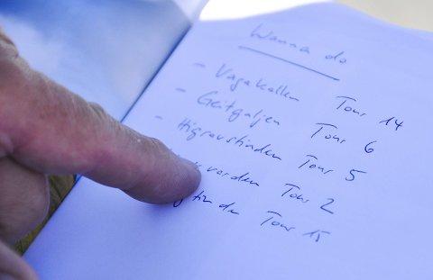 Ønskeliste: Her er «wanna do»-lista til det tyske paret. Frode gir dem beskjed om å droppe Higravstinden på denne tiden av året.