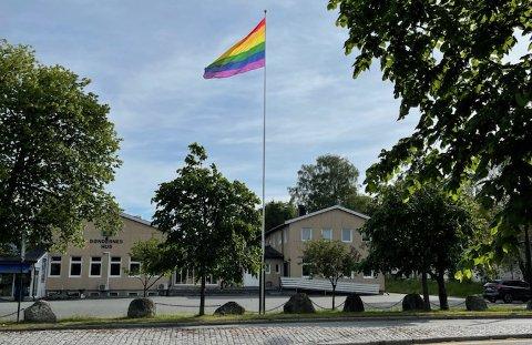 FLAGG: Slik skal det egentlig se ut på flaggstangen i Råde sentrum. Tirsdag var flagget borte.