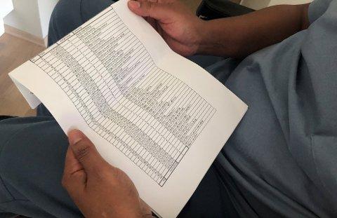 TIMELISTER: Småbarnsfaren Mumdooh (43) skal ha fått hjelp av Ringerike kommune i 184 timer. Han mener selv det korrekte antallet er 16 timer og at timelistene er falske.