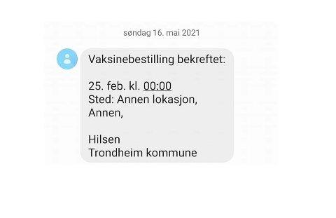 Skjermdump av sms fra Trondheim kommune