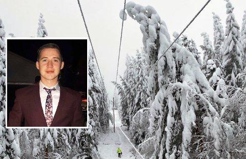 TUNG SNØ: Emil Nystuen (22) fra Dokka møtte en haug med ledninger som var blitt dratt ned av den tunge snøen. Illustrasjonbildet er fra et annet sted.