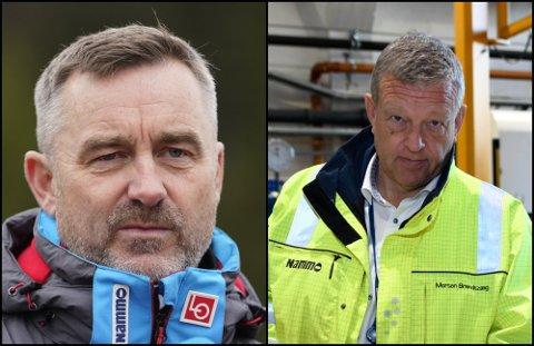 STØTTE: Nammo-sjef Morten Brandtzæg (t.h.) er sterkt kritisk til måten ledelsen i skiforbundet har behandlet hoppsjef Clas Brede Bråthen.