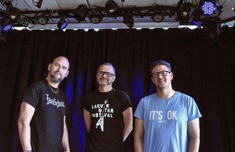 Store: Anders Buaas, Atle Rasmussen og Paul Anders Huseby er styremedlemmer i Nordens nest største gitarfestival. Larvik Gitar Festival (LGF) arrangeres for 7. gang 11.-13. mars 2016.foto: per albrigtsen