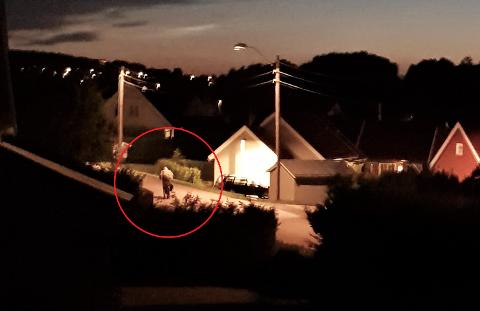 VEKKET OM NATTEN: Her sykler tyven vekk i full fart da Majbritt Aasestrand oppdaget han vandre rundt på naboens eiendom. – Da tenkte jeg, der er tyven!