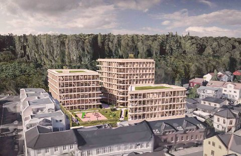 Spenstig: Slik ser Usbl og Spir arkitekter for seg at boligprosjektet i Bøkestredet kan bli. Det høyeste bygget er åtte etasjer høyt.