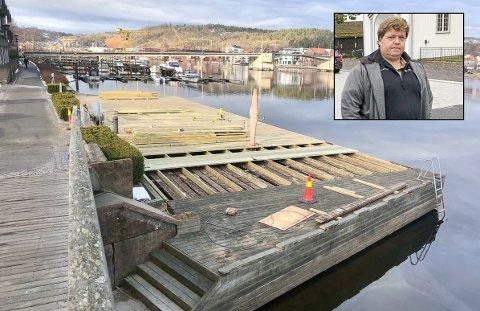 SNART I MÅL: Arbeidet ved Bratsberg brygge er snart ved veis ende. – Vi skal være ferdige til 1. mai, sier bydriftsleder Thomas Nøklegård.