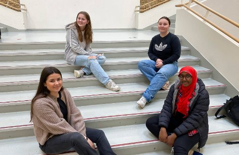 BLANDA FØLELSER: Dea Elizabeth Kåss, Pauline Pleym, Konstanse Marie Alvær og Segal Mohamud fra elevrådet på skolen.