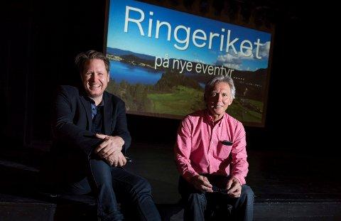 Jørgen Moe og Steinar Hybertsen fotografert da filmen hadde premiere. Lørdag vises begge delene igjen i Ringerike Kultursenter.