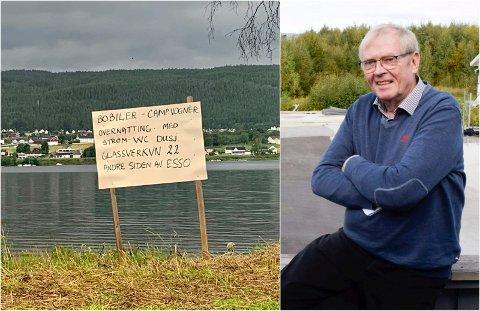 ÅPNET PLASSEN: Bobilfasiliteter var etterspurt i Jevnaker, og Kåre Bjertnæs hadde god plass. Da la han sammen to og to.