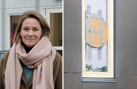 HÆRVERK: Rektor ved Ullerål skole, Anne Cathrine Fjlellvang, er skuffet over at noen har knust flere ruter på den nye skolen som åpner til høsten.