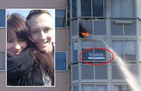 Vegard Hasselberg og samboeren Eirin Martinsen måtte evakuere boligen da leiligheten over begynte å brenne. Da var det kun én time til de skulle ha visning. To måneder senere er leiligheten fortsatt ikke solgt. Foto: Vidar Sandnes/Privat