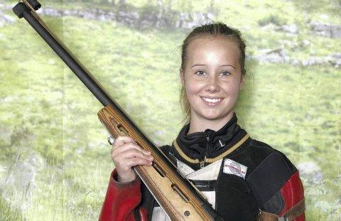Full treff: Maria Engen Skogly satte inn 23 av 25 mulige fulltreffere og sikret seg 250 innledende poeng i baneskyting.