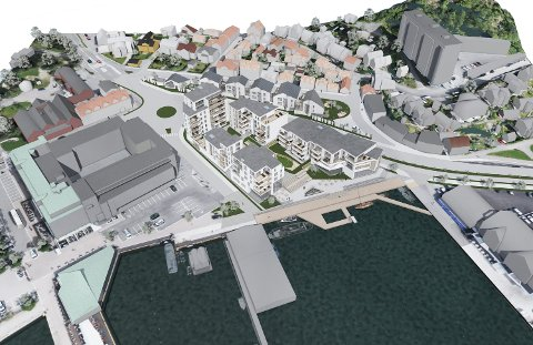 NY BYDEL: Carlsenkvartalet vil romme like mange leiligheter som Hvaltorvet. Prosjektet innebærer en omfattende opprustning av Brygga. (Illustrasjon: Spir Arkitekter)