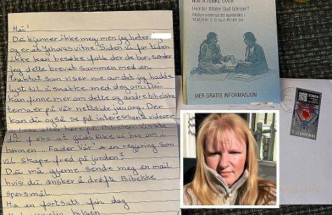 BREV: Tone Larsen reagerer på et brev hun mottok et fra Jehovas vitner i posten. Konvolutten var adressert til henne, og inneholdt et håndskrevet brev.