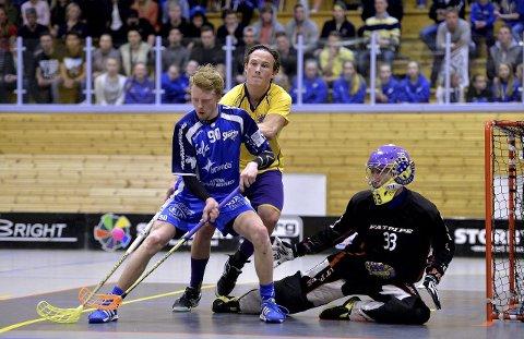 Tre mål: Michael Helgesen scoret tre ganger for Sharks mot Nor 92. Foto: Mats Duan