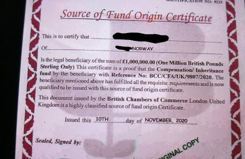"""Deler av dokumentet: Kvinnen hevder dette er ekte verdipapir fra en finansinstitusjon i Storbritannia, og bruker det som """"bevis"""" for at hennes historie er riktig."""