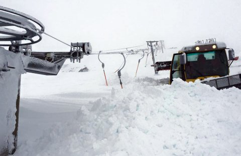 Dette bildet er fra skianlegget på Haukeli etter det store snøfallet i januar i år.