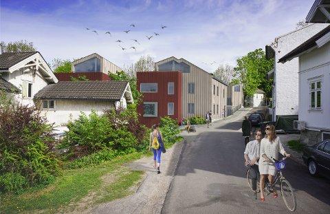 AVGJORT: Nå er det klart at det blir byggestart i august. Denne illustrasjonen viser de nye boligene sett fra Øvre Skotlandsveg.