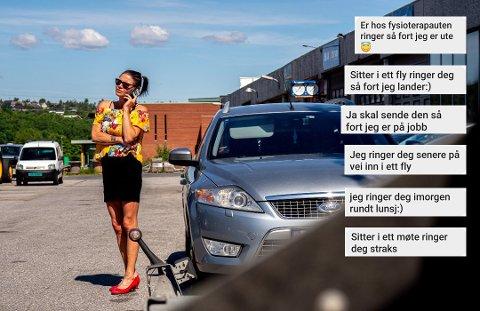 – VANSKELIG: Lise Marie Thulin sier at det nesten ble umulig å få kontakt med Autogroup AS i Skien, på tross av gjentatte telefoner og sms-er. Bildet er tatt utenfor Sarpsborg Autoservice AS, som hun stoler på og hvor bilen nå blir reparert.