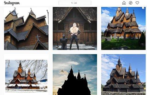 PROVOSERER: Turister og fotoentusiaster som vil se bilder av Heddal stavkirke på Instagram får nå se bilder som dette i midten øverst. Screenshot av https://www.instagram.com/explore/tags/heddalstavechurch/