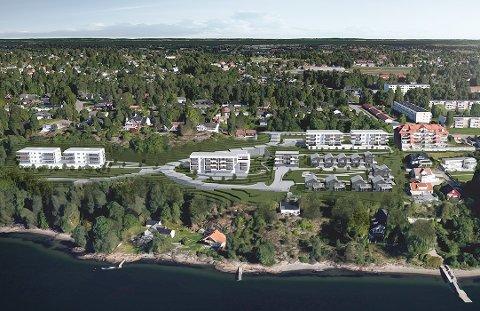 NYE BOLIGER: Ofte blir de for dyre for ungdom. Illustrasjonen viser det nye prosjektet «Skogro» på Nøtterøys vestside. Her skal det bygges 59 nye boliger.