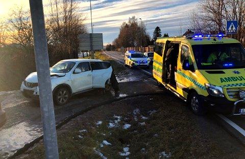 KOLLISJON: Bil ble påkjørt bakfra.