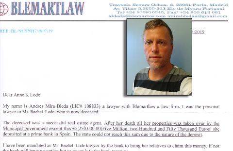 FORSØKT SVINDLET: Reidar Lode (innfelt) ønsker å advare andre etter at familien hans fikk et svindelbrev fra Spania.