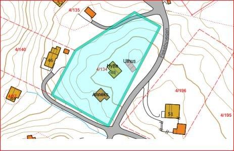 Eiendommen: Kartutsnitt av eiendommen det er tvist om.