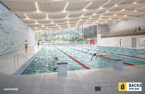 VISJONEN:Arkitekttegning av den nye svømmehallen på Elvetangen i Hakadal.
