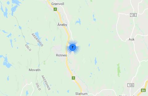 STRØMBRUDDKART:Kart på Hafslunds nettsider torsdag morgen som viser strømbrudd på østsida av dalen på Rotnes.