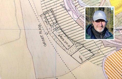 PLANEN: Kart som viser tenkt ridesenter på sørsida av Svartkruttveien, rett på andre sida av veien fra Nittedal hestesenter, med grunneier og initiativtaker Tommy Ihlen innfelt.