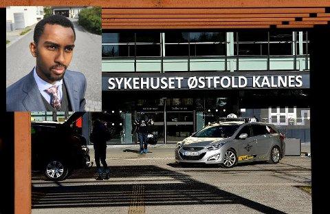 ENGASJERER SEG: Også Høyre-politiker Roble Wais (innfelt) er opptatt av at pasienter og pårørende bosatt i Vestby skal få et bedre kollektivtilbud til og fra Sykehuset Østfold Kalnes.