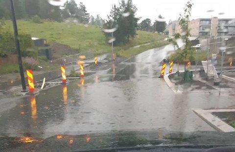 VÅT VEIBANE: Dette bildet la en bruker ut på Facebook etter helgens regnskyll. Vanndammen går nesten over hele bredden av Odins vei.