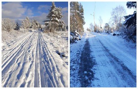 BORTE: Knut Bendik Kvala viser hvordan det så ut på anleggsveien mandag (t.v.). Da han kom tilbake onsdag var det umulig å gå på ski, sier han.